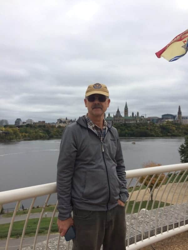 Dan and looking across the river to Ottawa